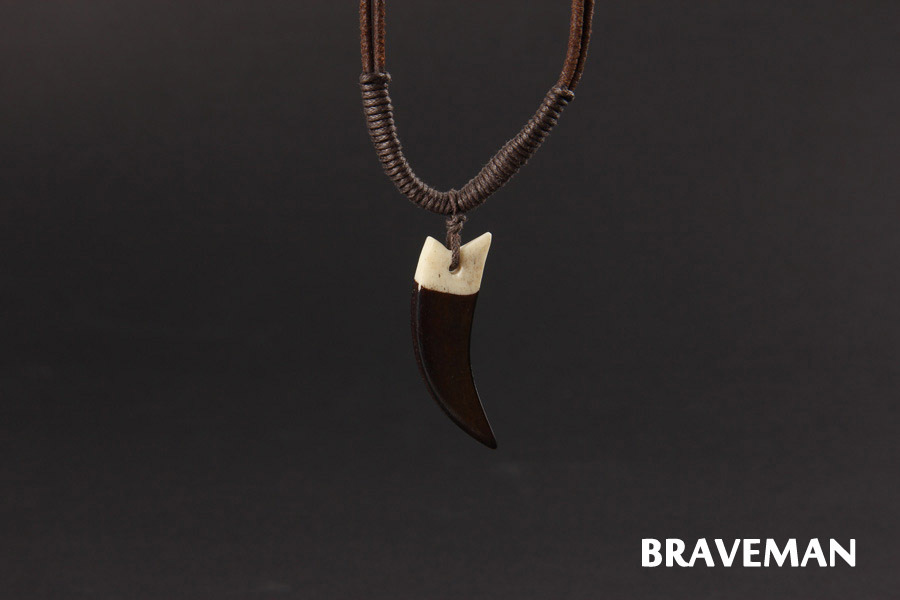Braveman Punk Style High Quality Shark Tooth Necklace Pendant Custom Long Chain Necklace Men Jewelry
