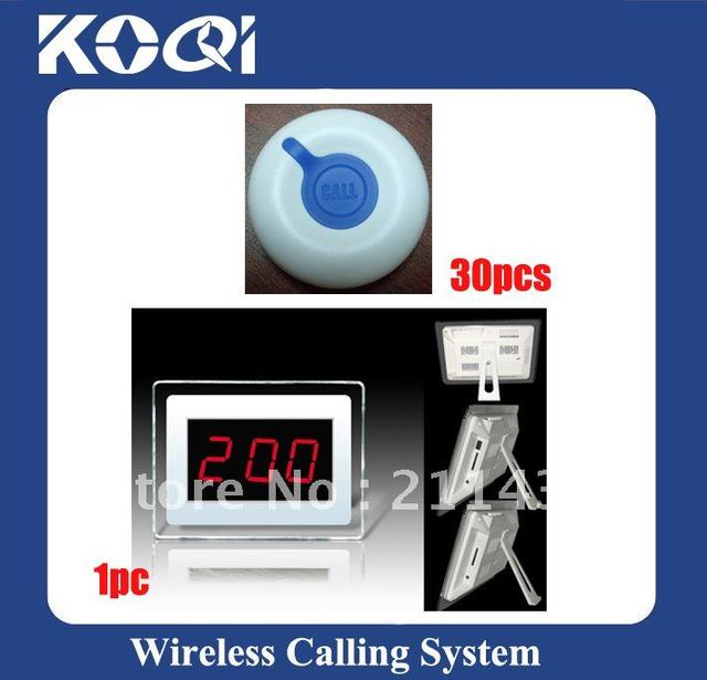 DHL freeshipping Restaurant Wireless Service Calling System ; A set of 1pc receiver and 30pcs O1 buttons ; Wireless Call System