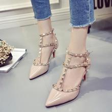 NEW Luxury Rivets Pumps Brand Designer Metal Rivets Leather Heel Shoes T-Strap Pumps Women Sandals High Heels Ladies Rivets Shoe(China (Mainland))