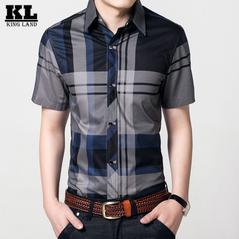 2016 Summer Style Brand Cotton Men Plaid Shirt Short Sleeved Casual Top Quality Buckle Shirt Chemise Homme 2 Colors Size M-4XL(China (Mainland))