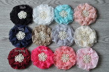500 pcs/lot Lace Beaded Chiffon Flower with Pearl Rhinestone Lace Without Hair Clip