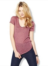 2014 New Spring/Summer Basic Women's Ultra Thin Heather Poly/Rayon V Neck t shirt , soft & comfort , 6 colors