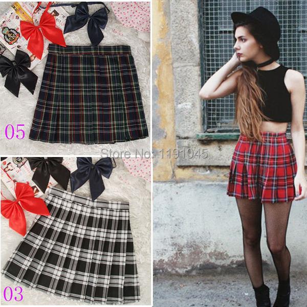 2016 HOT SALE Women Skirts Uniform Preppy Style A Line Tennis Mini Skirt High Waist Pleated Short Plaid Skirts Saias(China (Mainland))