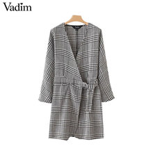 Vadim crossover V neck houndstooth dress plaid long sleeve vintage chic with belt office lady working wear vestidos QZ3262(China)