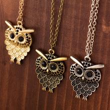 Vintage Women Owl Pendant Neclace Long Sweater Chain Jewelry Golden Antique Silver Bronze Charm fashion free