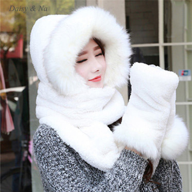Daisy & Na Women Hat Winter Soft With Long Scarf Mittens Ski Attached Gloves Faux Fur Hood 061