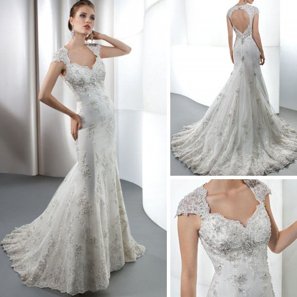 Lace Wedding Dress With Cap Sleeves Style D1919 : Cap sleeves keyhole back mermaid lace wedding bridal dress in