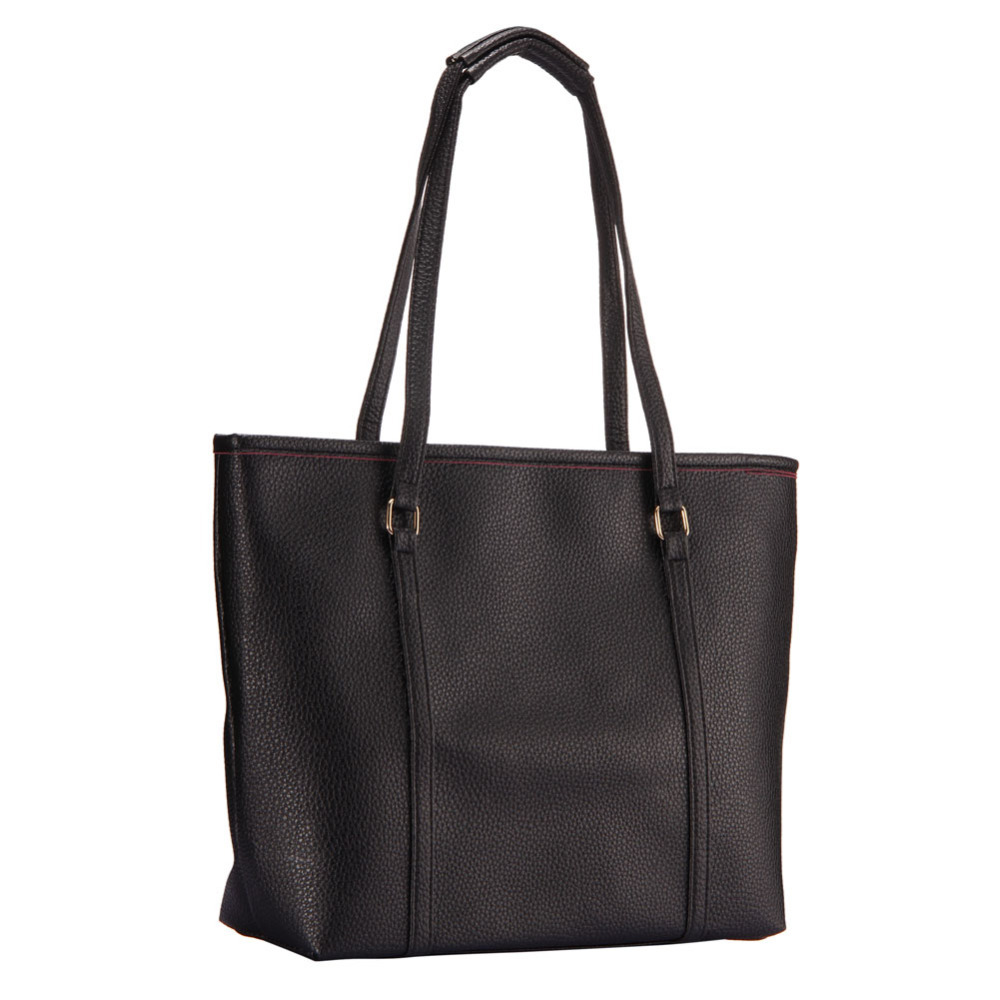 Simple Black Women Bag Handbag Pure Color Elegant Large Capacity Women PU Leather Handbags Shoulder Bags Borse(China (Mainland))