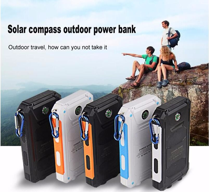 New Portable Solar Power Bank 12000mAh Compass Waterproof External Charging Battery with LED Light Universal Outdoor for iphone