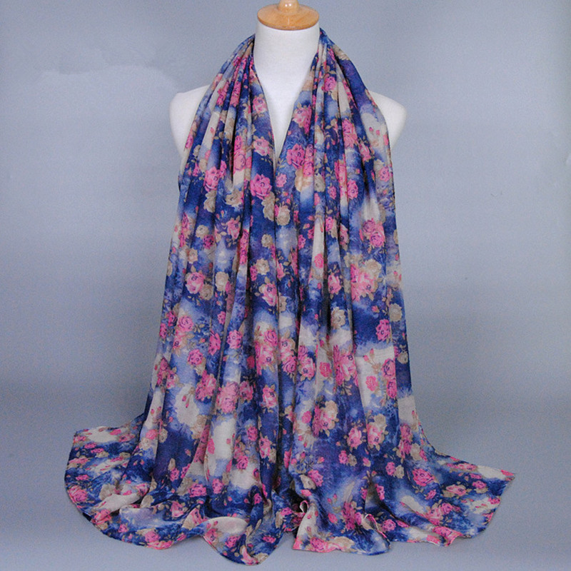 Beautiful Small Rose Fashion Printed Flower Design Long Cotton Voile Shawls Winter Muffler Head Wrap Muslim Hijab Women Scarves(China (Mainland))