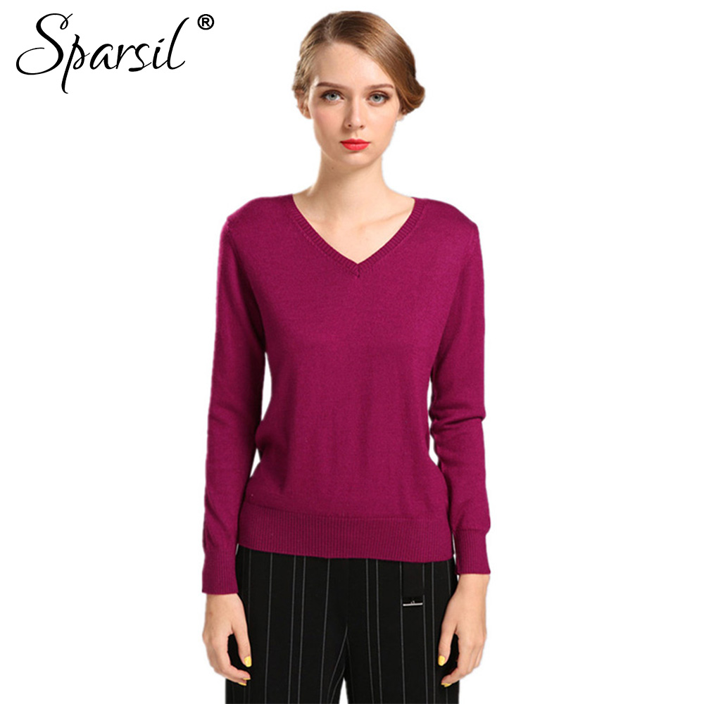 Sparsil Women Autumn Winter Cashmere Blend Sweater V-Neck Pullovers Long Sleeve Jumpers Womens Knitted Sweaters16 Colors S-XXL(China (Mainland))
