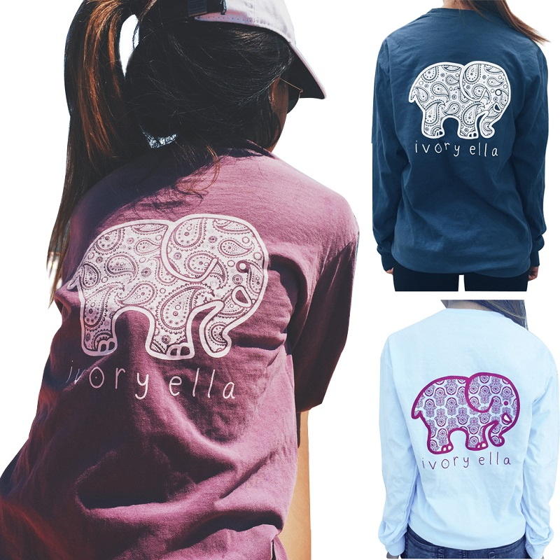 Plus size New 2016 Summer Ivory Ella T-shirt Women Tops Tee Print Animal Elephant T Shirt Loose Full Long Sleeve Blusas Tops(China (Mainland))