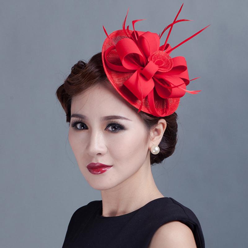 2016 Sinamay Fascinator Hair Clip Vintage Wedding Hair Accessories Women Flower Feather Headwear Party Headdress Top Hat Hairpin(China (Mainland))
