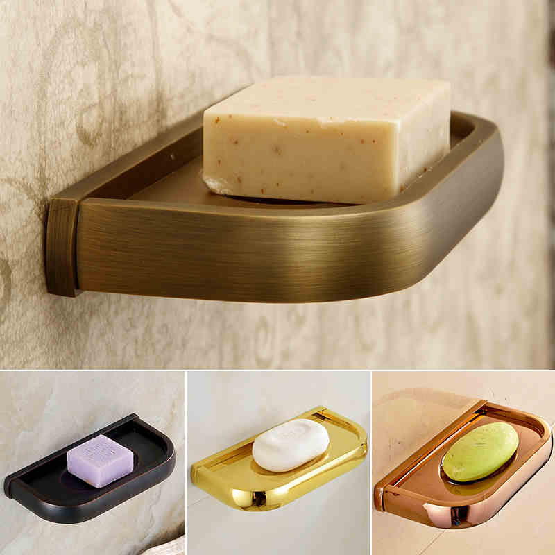 4 Style Wall Mount Brass Soap Dish Multi Color Bathroom
