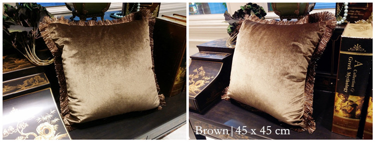 Free Shipping Solid Brown Turquoise Blue Shiny Soft Velvet Cushion Cover  Fringe Pipping Decorative Sofa Pillow Case 45 x 45 cm - us722