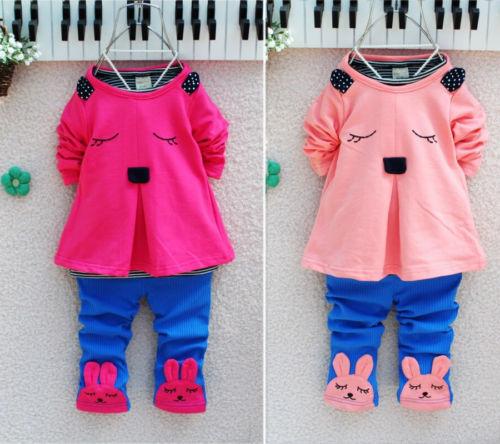 Baby Girls Kids Bunny Rabbit Long Sleeve T shirt Tops Clothes Pants Outfits Set(China (Mainland))