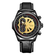 BUREI Men Sport Watch Genuine Leather Band Quartz Wristwatch Chronograph Sapphire 3ATM Stainless steel Watches Relojes Hombre