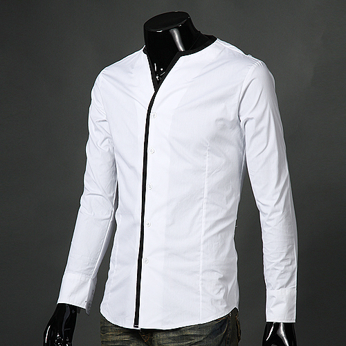 Hot selling hot men s shirts unique casual collarless male for Collarless white shirt slim fit
