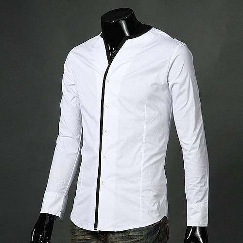 Similiar Men S Collarless Button Down Shirts Keywords