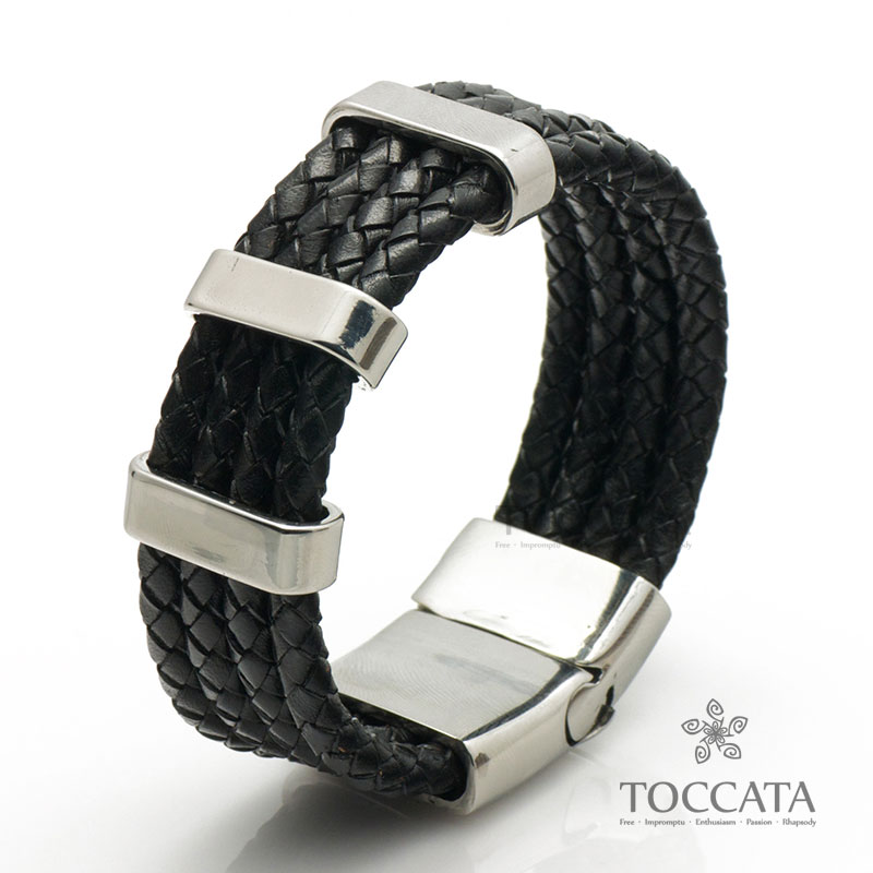 Ultra wide 4 knitted rope cowhide bracelet titanium male accounterment accessories multi-layer personality punk