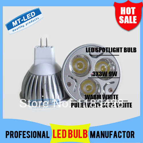 X100 DHL Free shipping High power CREE Led Lamp Dimmable MR16 9W 12V Led spot Light Spotlight led bulb downlight lighting(China (Mainland))