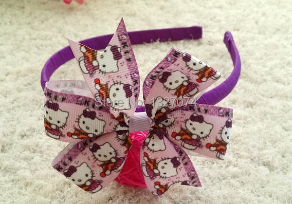 "12pcs/lot 3.5"" girl baby kid hello kitty ribbon boutique Hair bows Headwear hair accessories hair headband M#5(China (Mainland))"