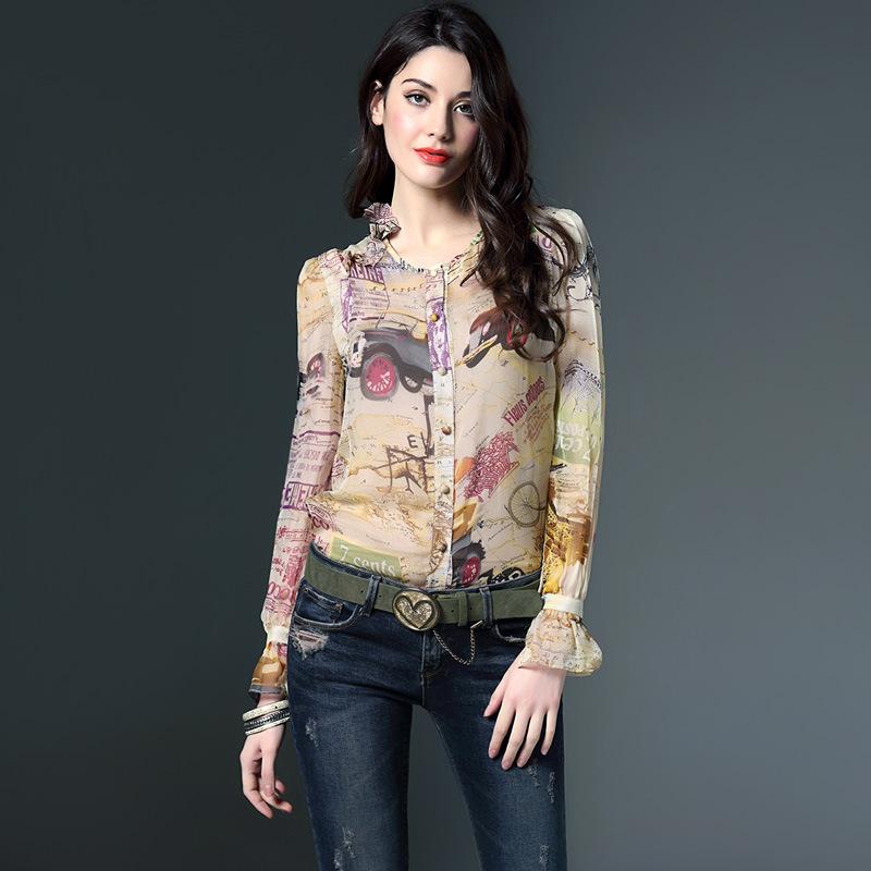 luxury designer new high fashion silk shirt 2016 spring summer women v