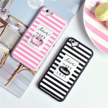 New Fashion Cute Ring Holder Simple Candy Stripe Back Cover For rApple font b iphone6 b