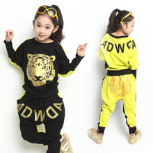 Retail Tiger Print Girls Clothing Set Spring Autumn New Kids Sports Suit Long Sleeve Top Harem