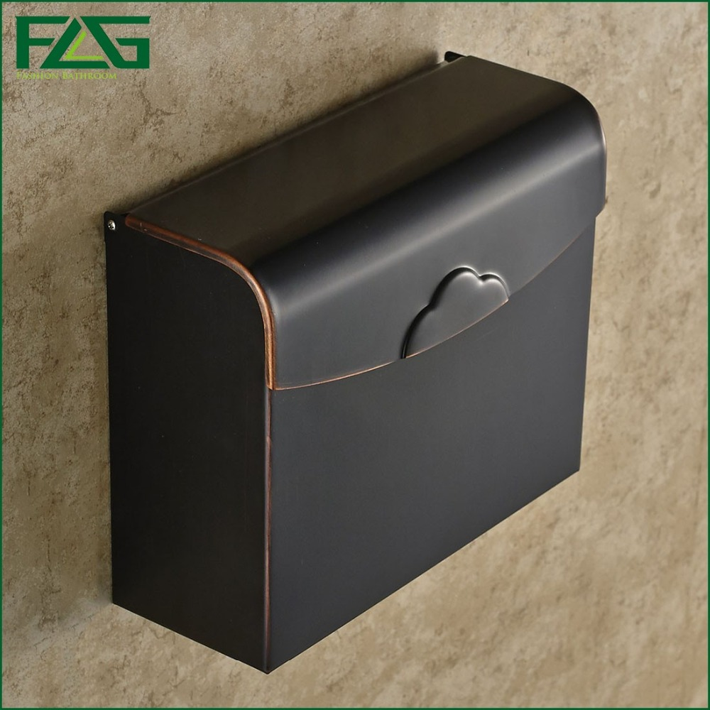 FLG Modern Bathroom Accessories Oil Rubbed Bronze Surface Brass Toilet Paper Holder Paper Box Wall Mounted G507(China (Mainland))