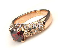 SGLOVE NEW 2014 4 Prongs Round Cutted Sparkling Ruby Cubic Zirconia God Engagement Ring Bezel Set