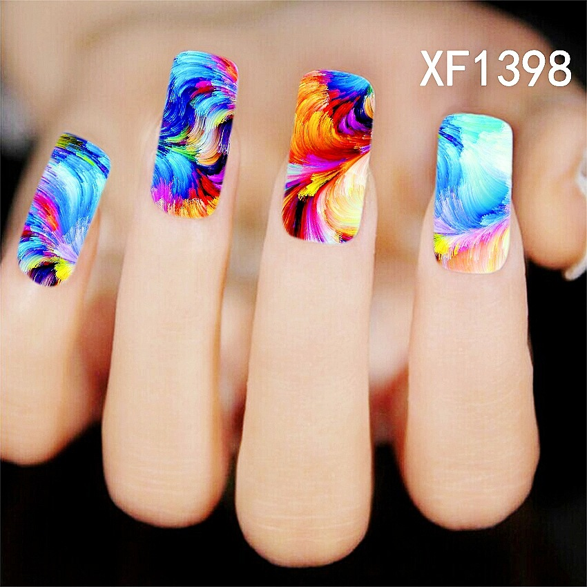 Homemade Nail Art Decals : Water transfer nail art stickers decal multi color sky masterpiece oil