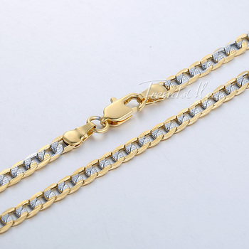 Customized ANY Length 4mm Flat Hammered Curb 18K Silver Yellow Gold Filled Necklace Mens Chain Womens Necklace Jewelry GN64