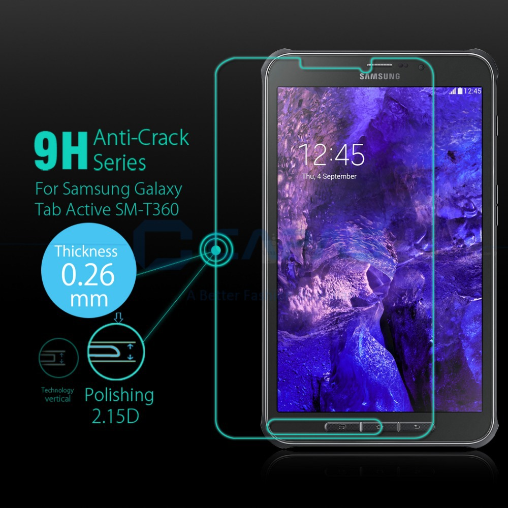 """for Samsung Galaxy Tab Active SM-T360 8"""" Inch Screen Protector 9H HD Clear 0.26MM Round Tempered Glass Screen Guard Flim(China (Mainland))"""