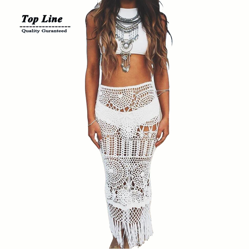 2016 Fashion girls 2 colors black white solid hollow out crochet floral lace sexy women beach skirts(China (Mainland))
