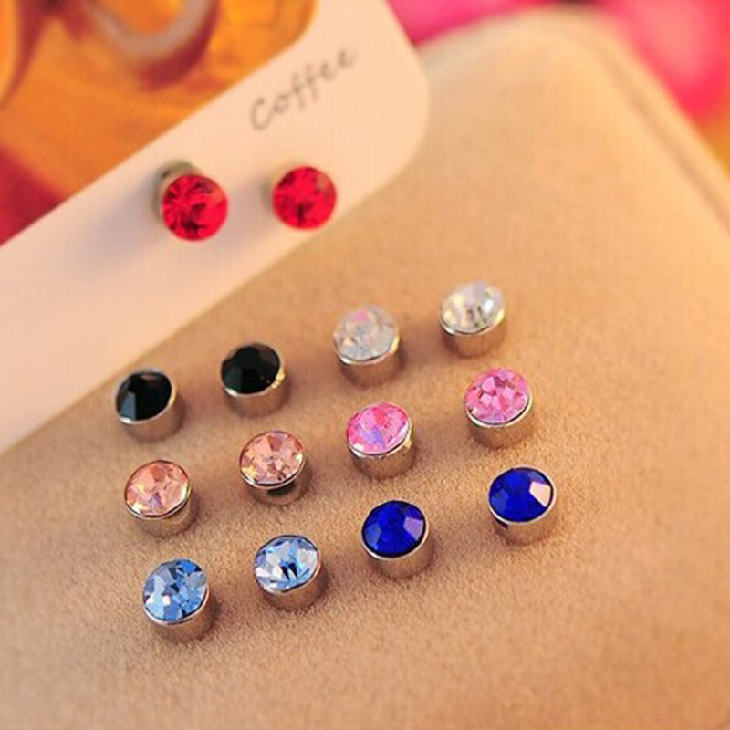 Sweet Candy Color Round Zirconia CZ Diamond Ear Cuff Jewelry Clip On Earring for Women Girls Cartilage Non Pierced(China (Mainland))