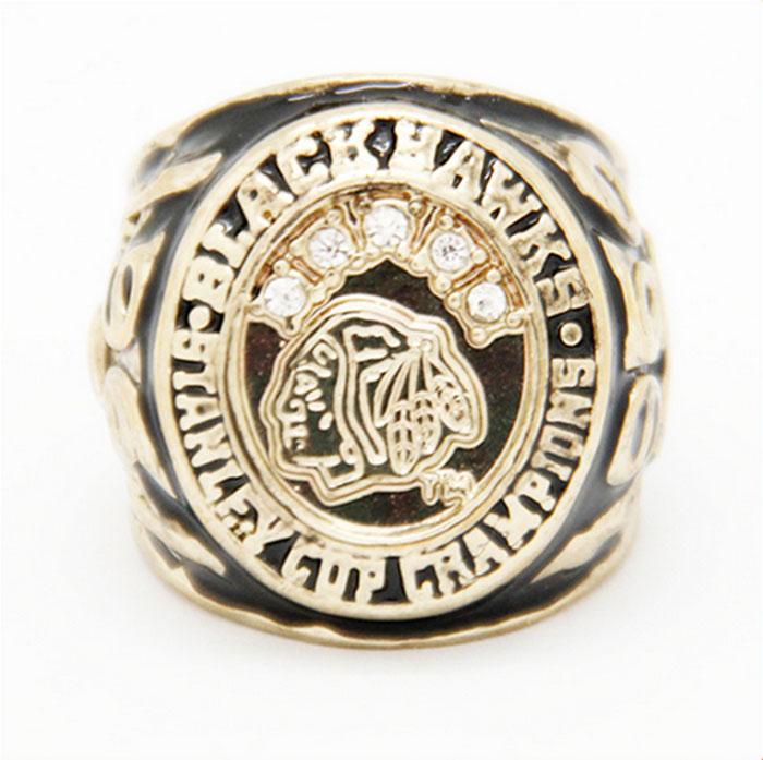 Wholesale 1960 Ice Hockey Chicago Black Hawk Zinc Alloy 24K gold plated Custom Sports Replica Fans World Championship Ring(China (Mainland))