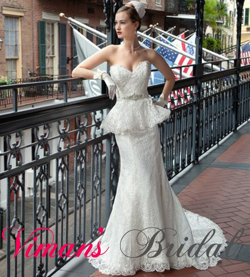 Discount Romantic Wedding Gowns Fit And Flare Sweetheart Zipper Court Train Lace Wedding Dress Vintage Free Shipping GH56(China (Mainland))