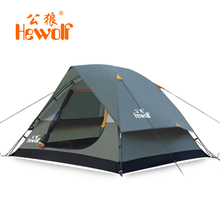 Hewolf new style good quality 3 4 person double layer waterproof windproof bivvy camping tent gazebo