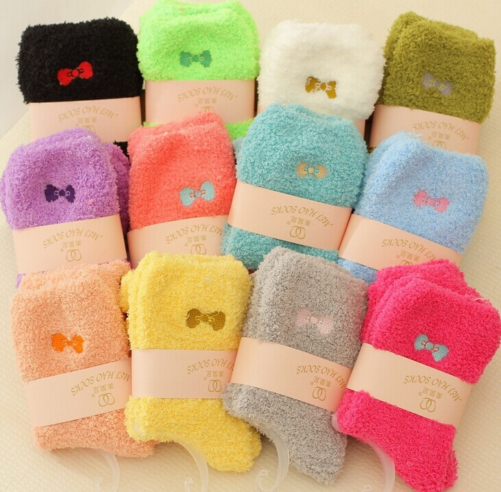 Sweet Candy Color Thickening Velvet Bow Women s Winter Socks Thermal Socks Retail