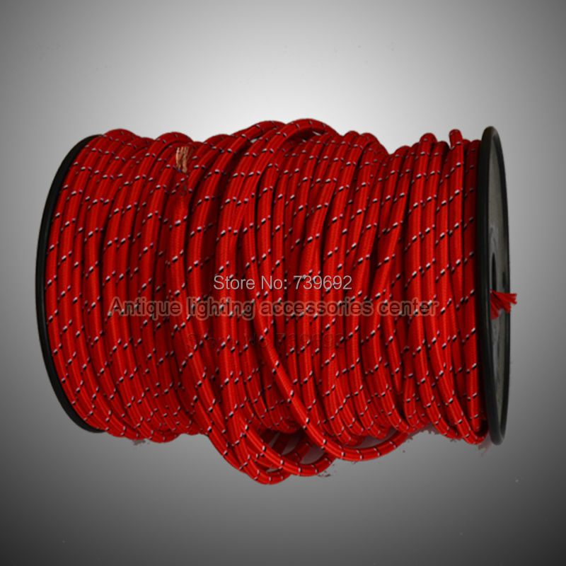 (5m/lot) top quality 2*0.75mm fabric cover big stripe black and red vintage copper core twisted electrical wire for lights <br><br>Aliexpress