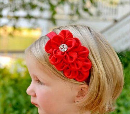 New Style Rhinestone Headband Hairband Baby Girls Flowers Headbands Kids Hair Accessories Baby Christmas Gift(China (Mainland))