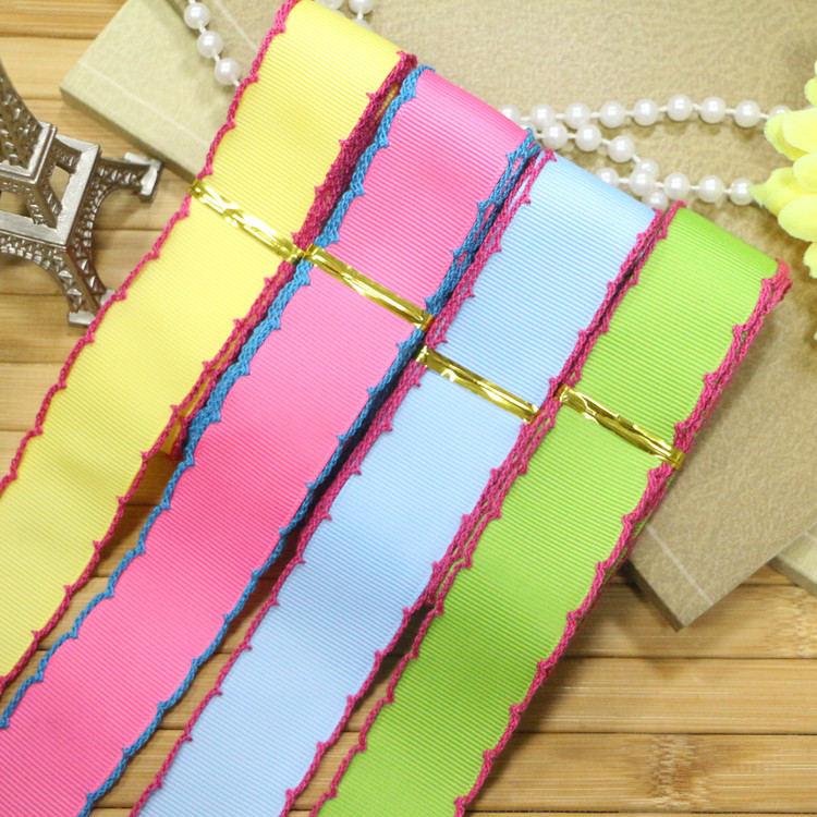 """HIGH quality DIY 2.5cm(1"""")Grosgrain Polyester Ribbon with edge lining 4 color mix(2 yards per each,total 8 yards)(China (Mainland))"""