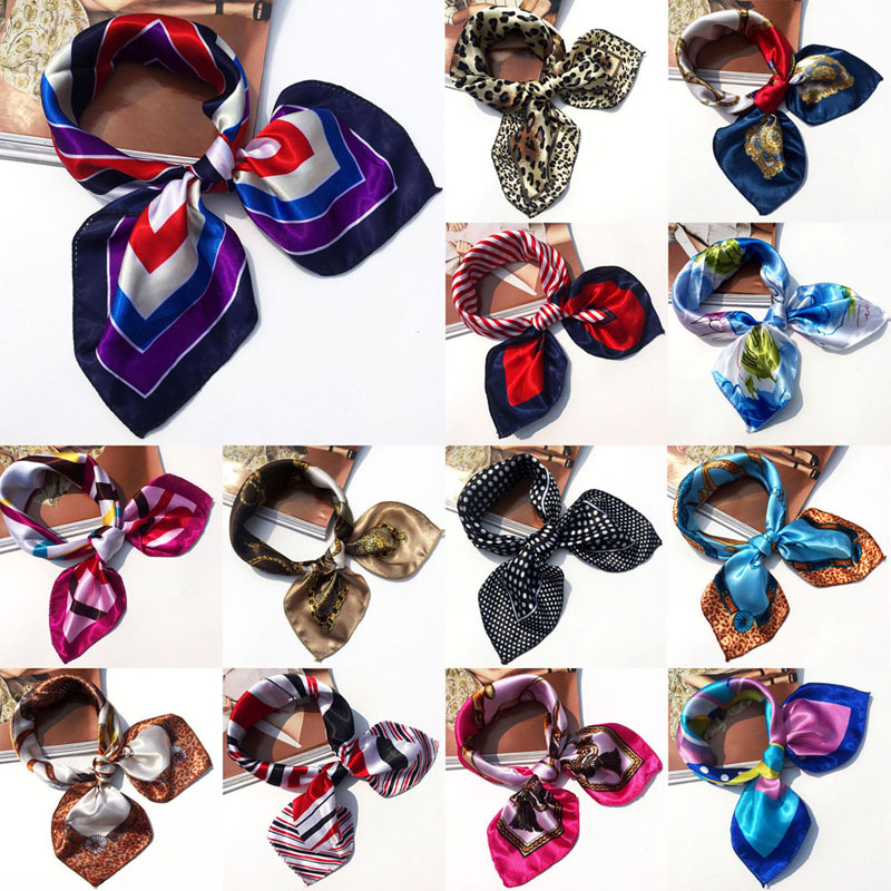 19 Colors High Soft Silk Square Scarf Scarves Bandanas Head Wrap Shawl Satin Stewardess(China (Mainland))