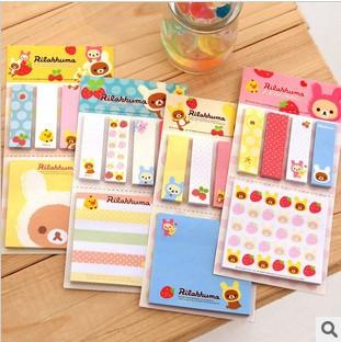 Kawarii Cartoon Rilakkuma Memo Notepad,Note Book&Memo Pad,Sticky Notes Memo Set,Gift Stationery KCS(China (Mainland))