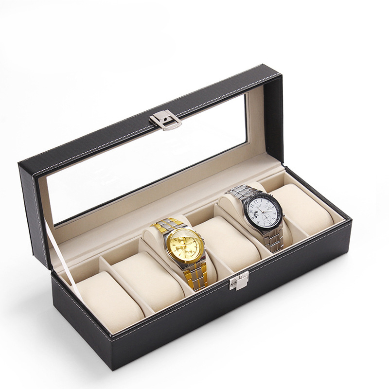 New Arrival PU Leather 6 Slots Wrist Watch Display Box Storage Holder Organizer Case Hot Selling rectangle watch box tool SH006<br><br>Aliexpress
