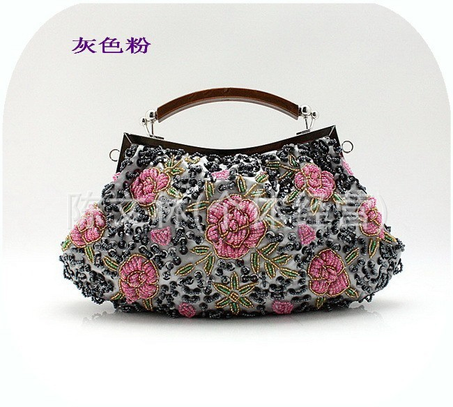 Promotion Gray Chinese Women's Beads Sequins Bag Banquet Party Flower Purse Chain Clutch Handbag New Totes Size18 x 28cm 03978(China (Mainland))