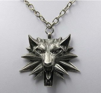 Animation The witcher 3 wolf head alloy pendant Necklaces Fashion jewelry wholesales free shipping YP1698(China (Mainland))
