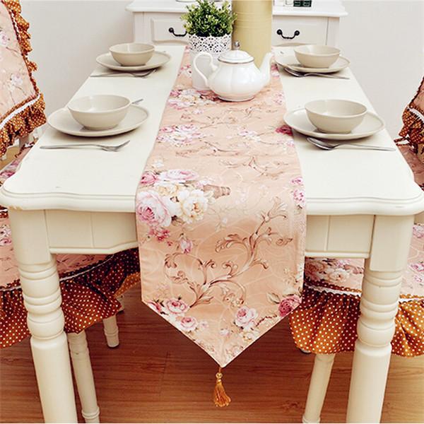 product Table Runner Pink Embroidered Caminhos De Mesa Bordada Garden / Home Runner Table Wedding Polyester/Cotton Table Runner Pink