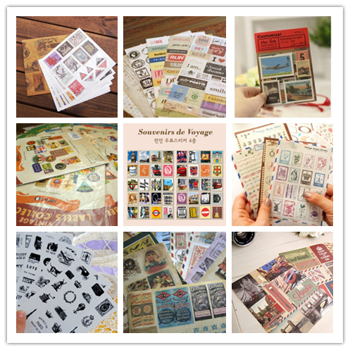 Vintage Retro Paper Sticker Classic Old Paris London Stamp Stickers for Decoration Scrapbooking Diary Album Free shipping 10012(China (Mainland))